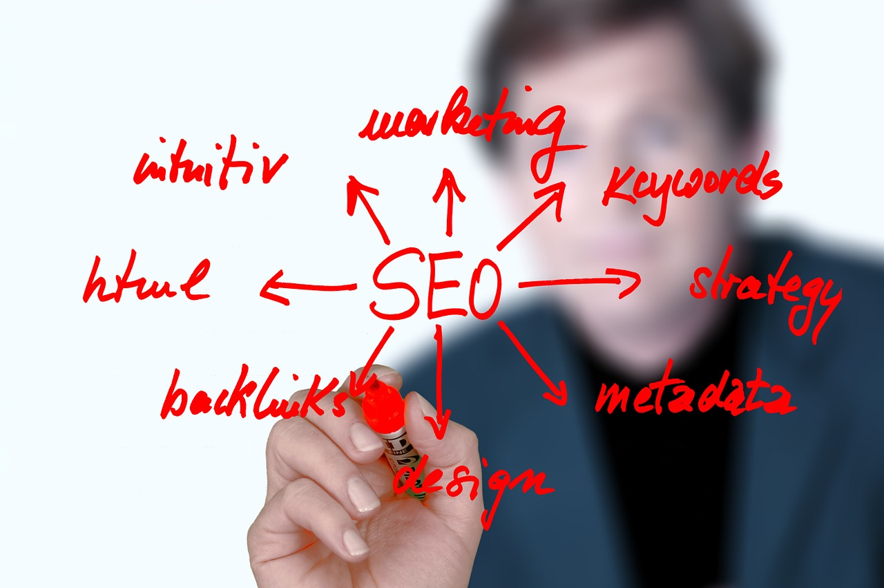 Man writing words to use SEO for small business growth.