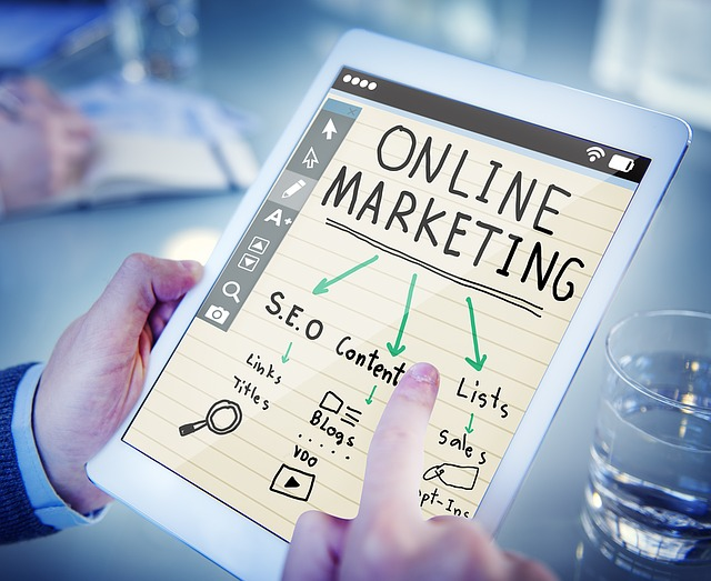 online marketing written on tablet