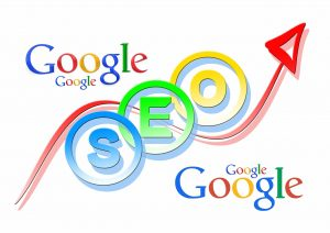 "The word ""Google"" written 4 times on a write background around the abbreviation SEO."