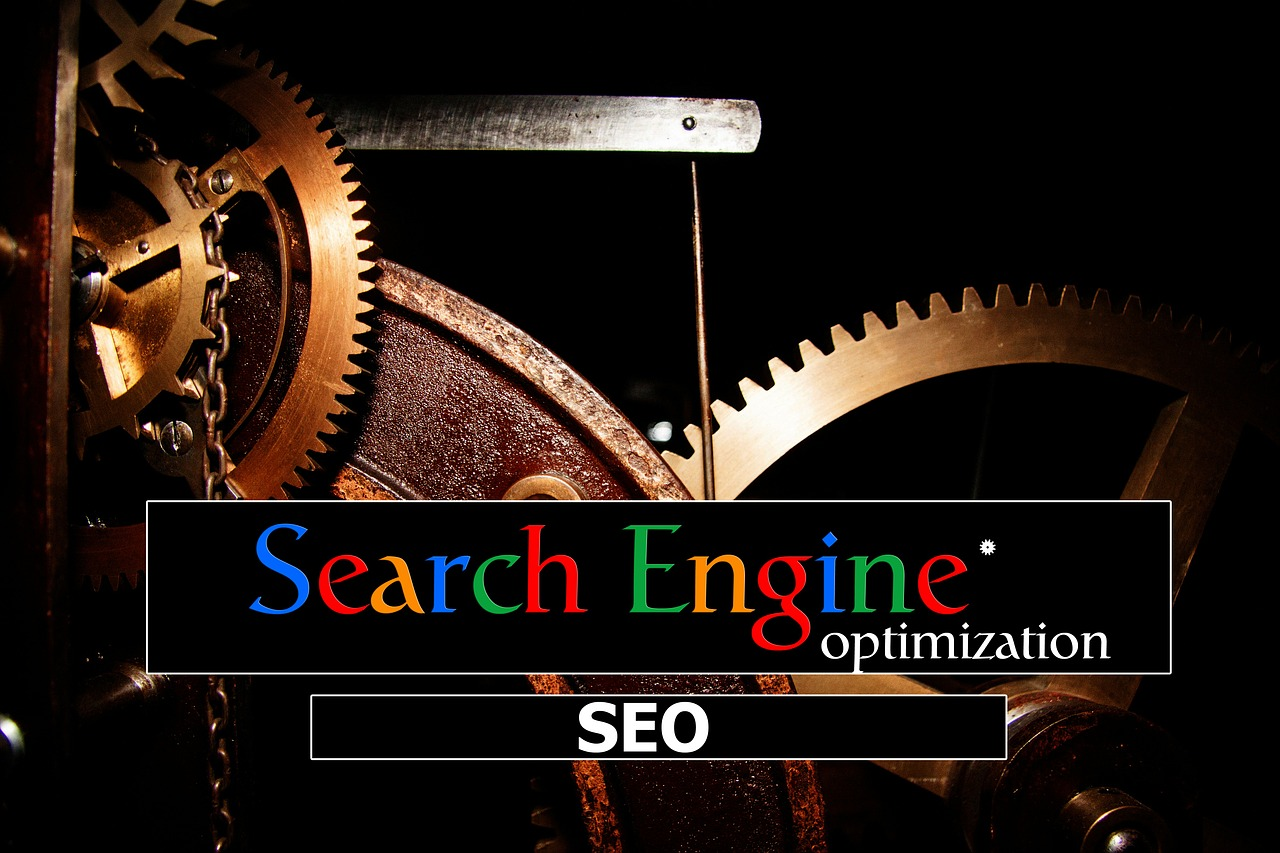 "Metal gear wheels, the words ""Search Engine optimization, SEO"" whiten in the foreground"