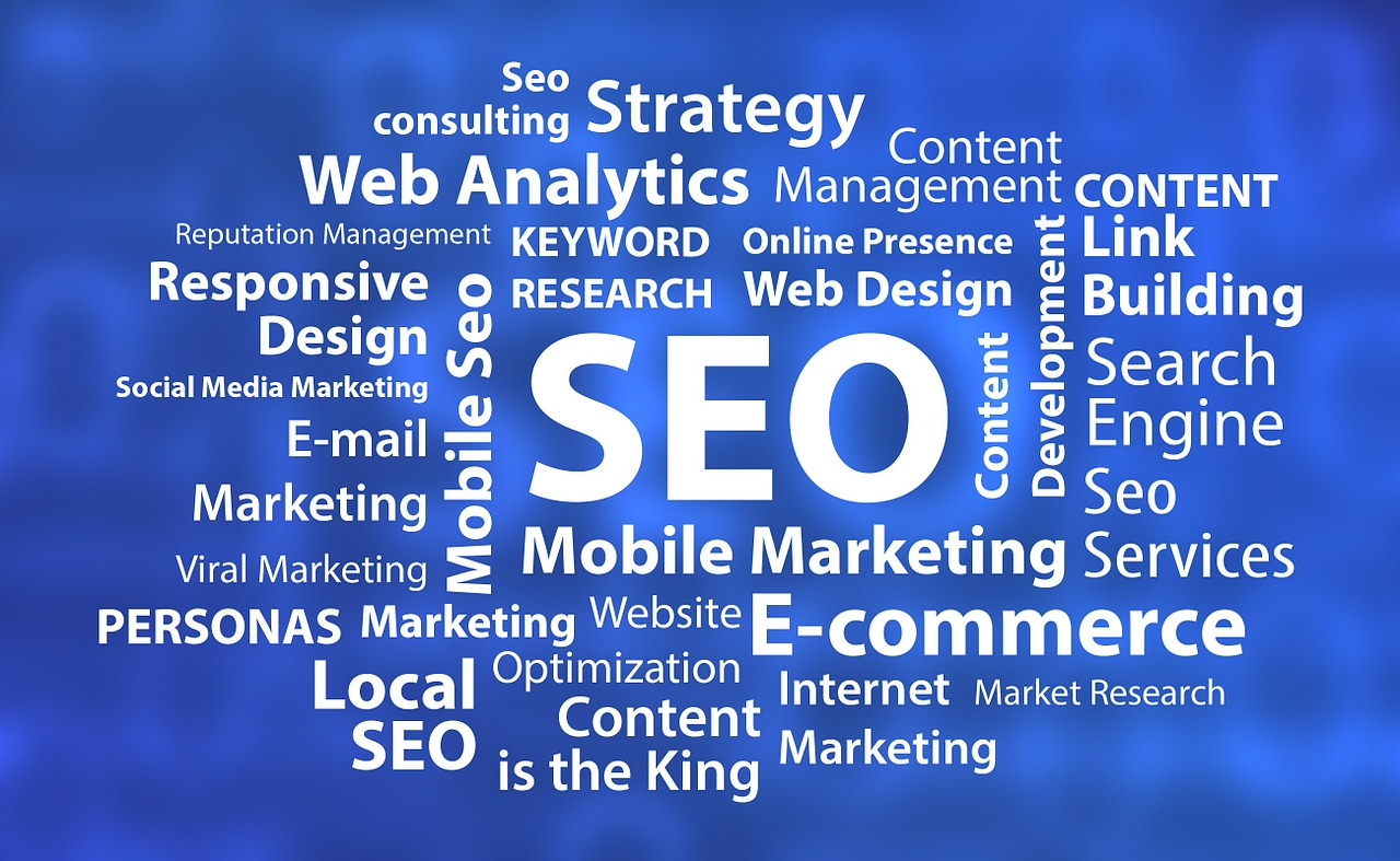 An image with the word ''SEO'' in the center, surrounded by other words such as ''Marketing'', ''Web Analytics'', and ''E-commerce''.
